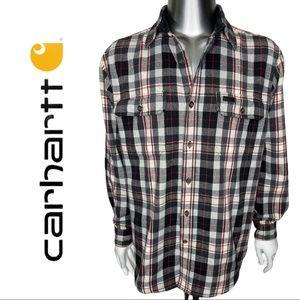 Carhartt Button Front Long Sleeve Plaid Short